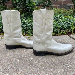 Justin White Leather Cowboy Boots